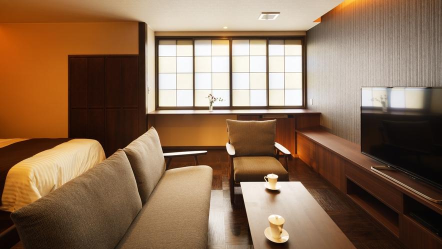 【ツインルーム】すみれ_和室にセミダブルベッド2台