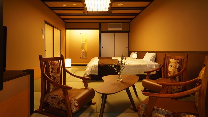 【ツインルーム】306号室_和室にセミダブルベッド2台