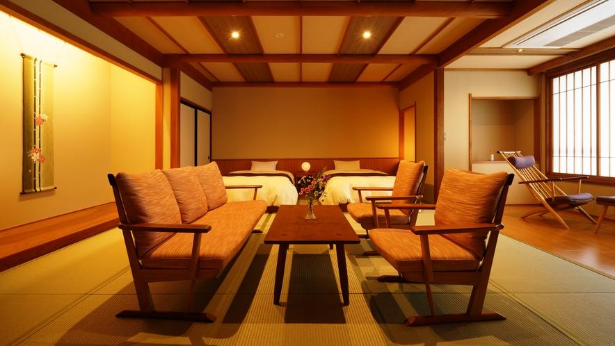 【和室ベッドルーム】わすれなぐさ_和室にセミダブルベッド2台