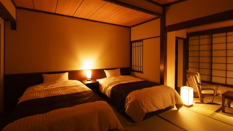 【ツインルーム】そら_和室にセミダブルベッド2台