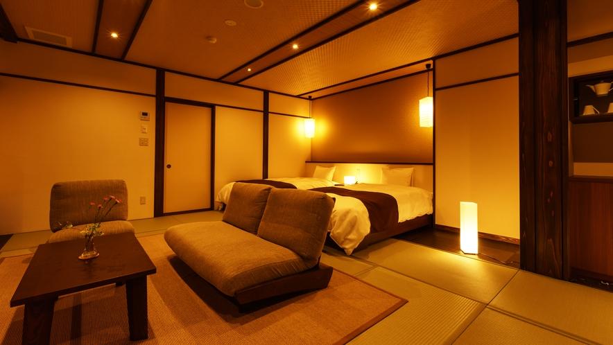【和室ベッドルーム】こはく_和室にセミダブルベッド2台