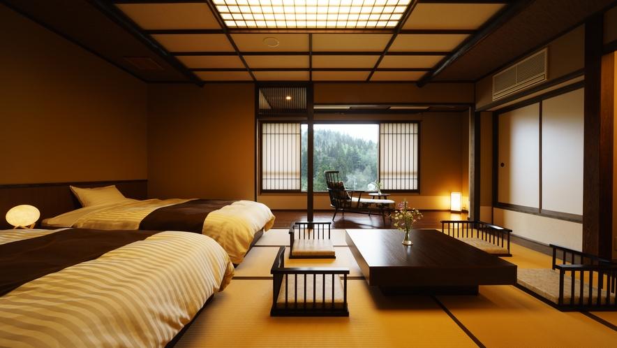 【和室ベッドルーム】412号室_和室にセミダブルベッド2台