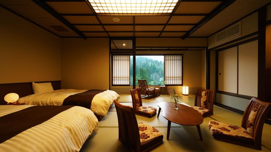 【和室ベッドルーム】312号室_和室にセミダブルベッド2台
