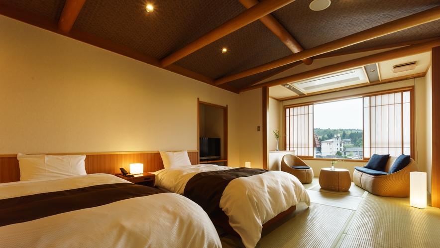 【ツインルーム】ぼたん_和室にセミダブルベッド2台