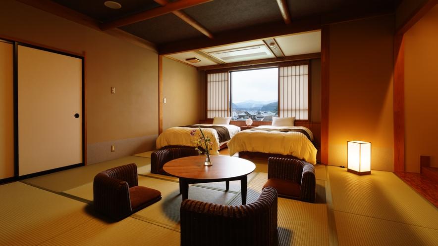 【和室ベッドルーム】れんげそう_和室にセミダブルベッド2台
