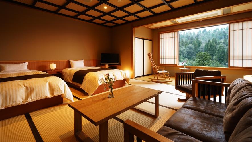 【和室ベッドルーム】すいれん_和室にセミダブルベッド2台