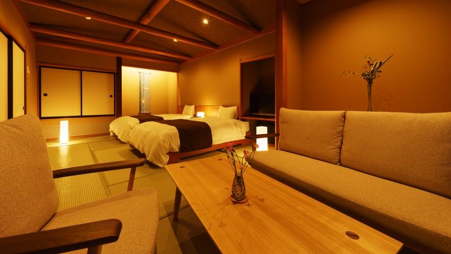 【ツインルーム】ゆり_和室にセミダブルベッド2台