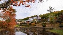 【秋】紅葉で秋らしい中庭