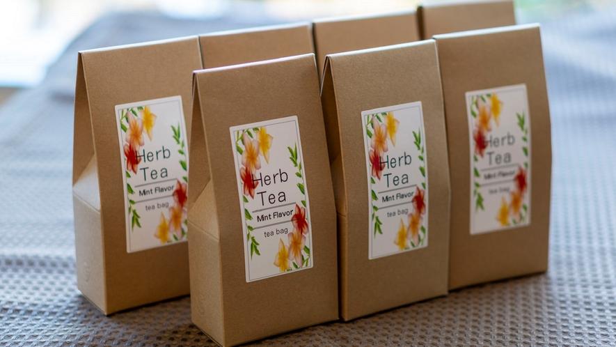【お土産コーナー】猪名川町農園で栽培したハーブを使用したハーブティー。(味はミント・レモン・フルーツ