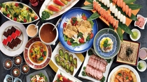 【夕食】ブッフェコース:地元九十九里と館山で朝獲れの新鮮な地魚などが並びます。