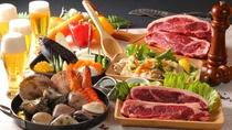 【夕食】BBQプラン:オープンエリアガーデンにて新鮮な海の幸とおいしいお肉をお楽しみください。