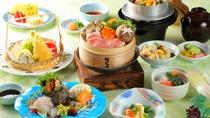 【夕食】会席プラン:蒸したお野菜にお肉…シンプルで優しいお味です。