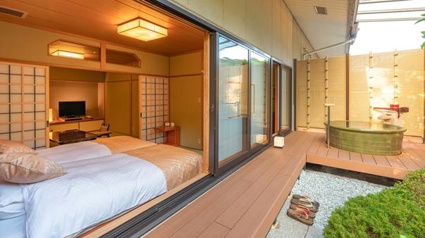 令和3年改装【2階庭園付き和室】源泉掛流し露天+半露天風呂