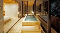 【ジャパニーズ・スイート】白銀の湯を湛える半露天風呂