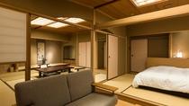 庭園露天風呂付和洋室~ツインベッドとリビングのあるゆったりとした間取り。