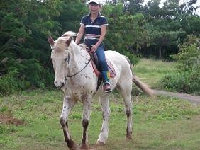 愛馬に騎乗