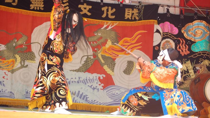 上沼田(うえぬだ)神楽は主に「古事記」に伝わる物語を演じるもので起源は享保2年以前と言われています