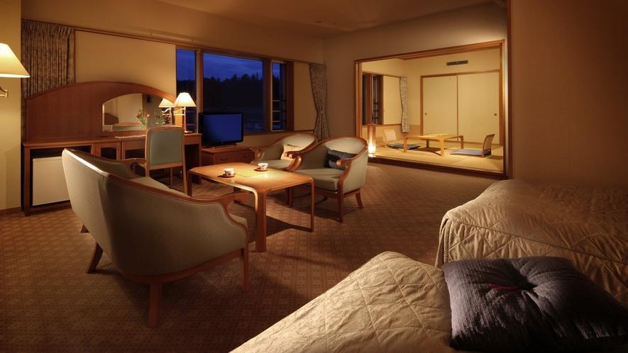 【3F・4F和洋室】窓からは蔵王連邦を一望でき、山形の四季折々の眺望を存分にお楽しみいただけます。
