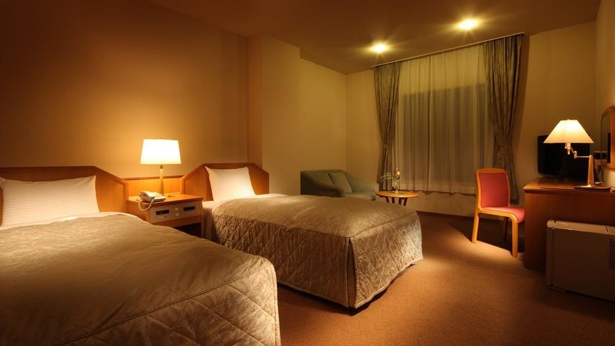 【別棟洋室ツイン】別棟にあり静かな環境でお寛ぎいただけます。一階にあるため蔵王連邦は望めません。