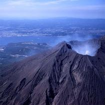 空から見た桜島