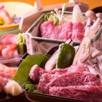 【夕食】「しっかりと肉が食べたい!」という要望にお応えした、白老牛をメインにしたリクエスト御膳。
