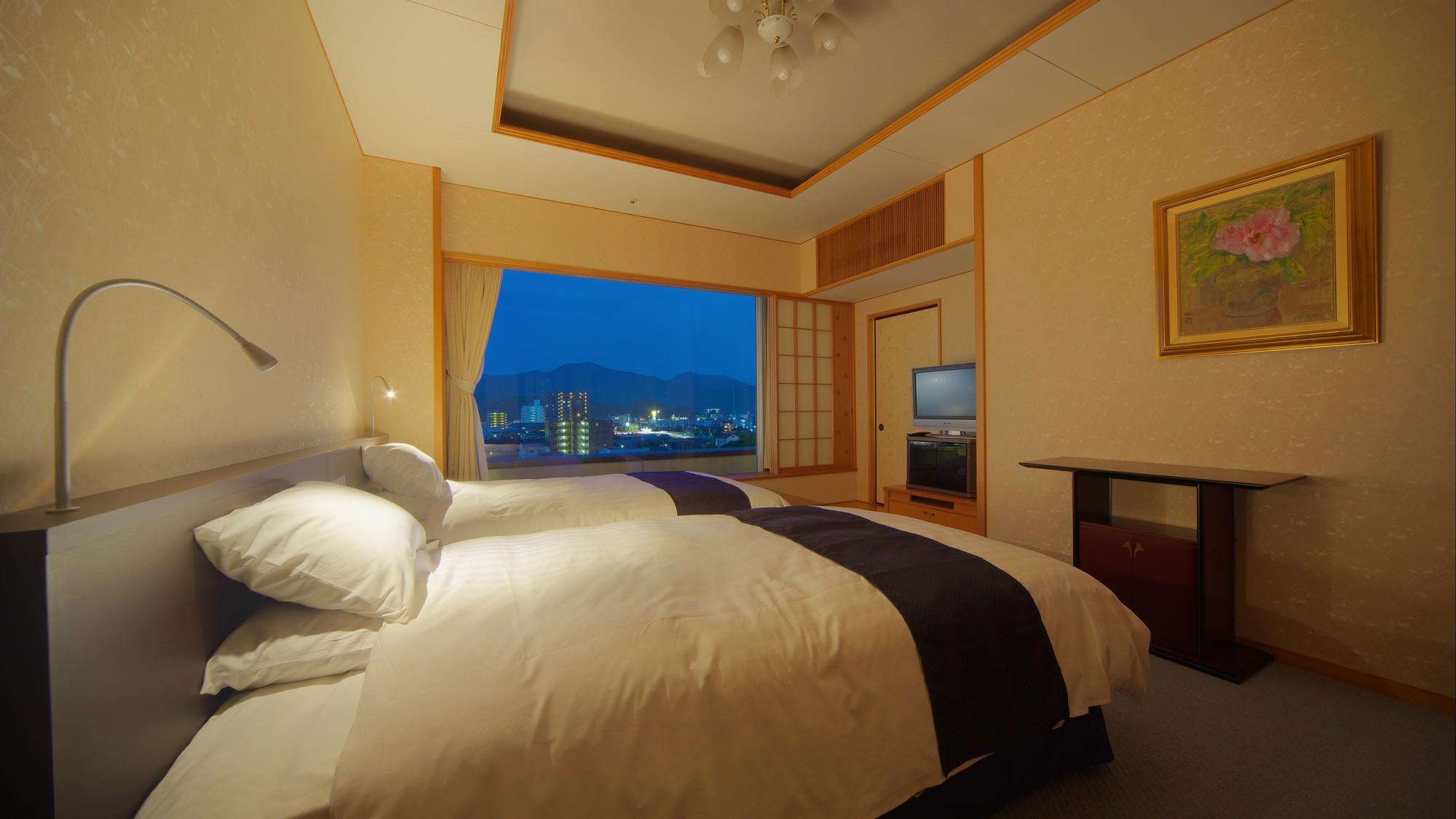 特別室和洋室【洋室】洋室には、上質な眠りを提供する「世界のベッド」シモンズベッドをご用意。