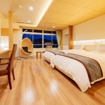 【天誠ハリウッドツイン】広々としたベッドにハンギングチェアも設え非日常を感じられる客室