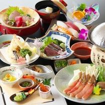 【天ぷらしゃぶしゃぶ会席】~カニコース~『藁焼きかつおの塩タタキ付』