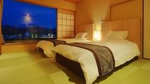 特別室(92平米)シモンズのツインベッドを備えた和モダン寛ぎのお部屋