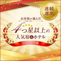 【連続受賞】2018年上半期4つ星以上の人気宿にヴィラージュ京都が選ばれました!
