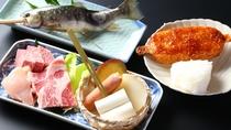 ■【子供戦国料理】小学生のお子様用。基本の3種お肉、川魚、五平餅、焼きおにぎり付き。