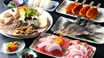 ■【美食の戦国料理】4種肉の甘み、旨みをご堪能。※写真は4人前。