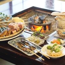 【春グルメ】飛騨牛炭火串焼きと採れたて!山菜料理をご堪能下さい。