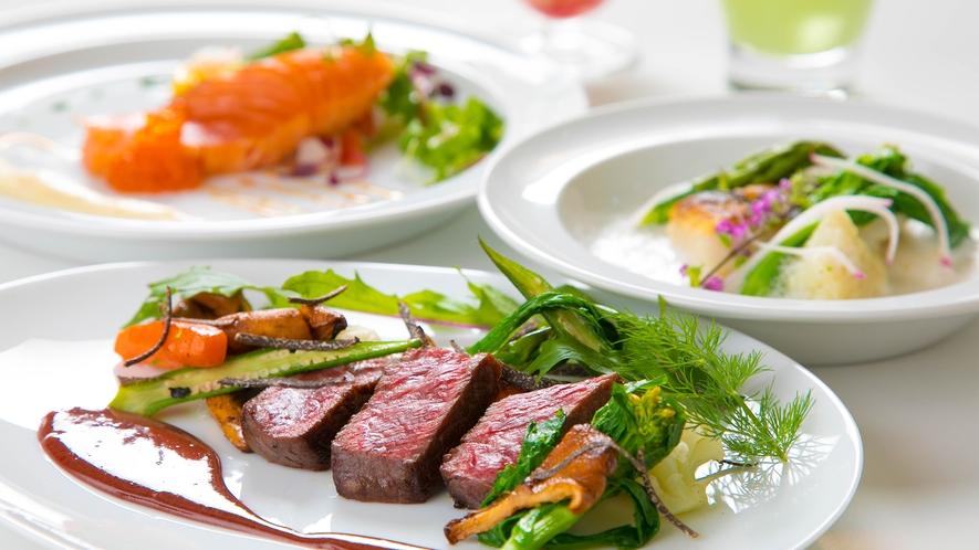 【ご夕食】地元食材を中心に作り上げるフレンチディナー