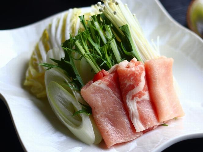 【夕食】熊本産【りんどうポーク】の豚しゃぶ(素材拡大)
