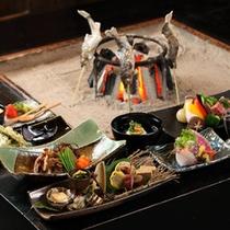 囲炉裏端での夕食例(2015)