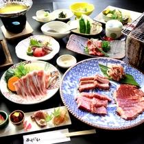 【夕食一例】<和王&あか牛>の炭火焼が楽しめる釜飯付きコース