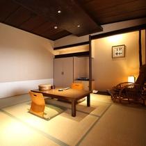 【客室一例】新館/和室8畳:落ち着いた雰囲気を施し、ごゆっくりとお寛ぎください。