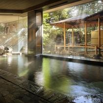 ◇象山の湯。大きなガラス越しに、日本庭園と滝を望みます。