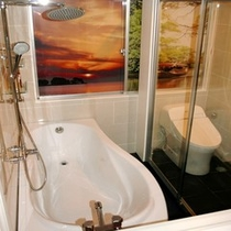 ★トイレは勿論ウオシュレット★広いDXダブル1室の窓には宍道湖の夕日と堀川遊覧の景色をあしらって★