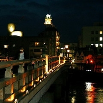 ■ライトアップされた銘橋「松江大橋」と松江シティホテル■