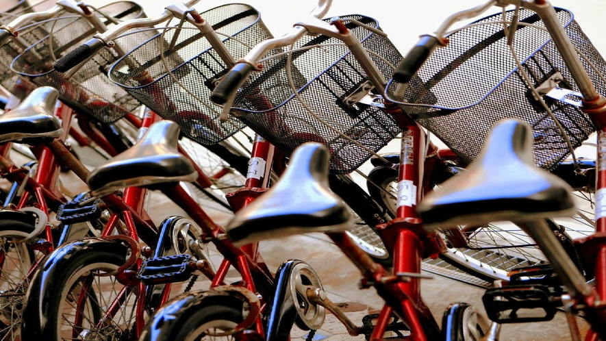 無料レンタサイクルはAM6時から受付開始!通勤でのご利用はご遠慮下さい。