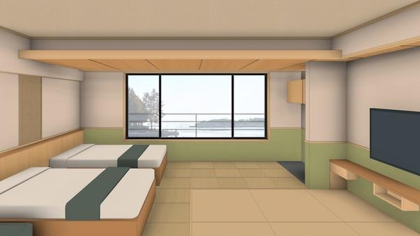 新☆ペット温泉半露天風呂付客室2階「はのん」リビング付・禁煙