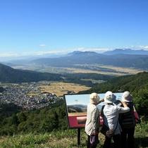 見晴台から温泉街・北信五岳・千曲川を望む♪