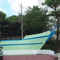 帆船の露天風呂