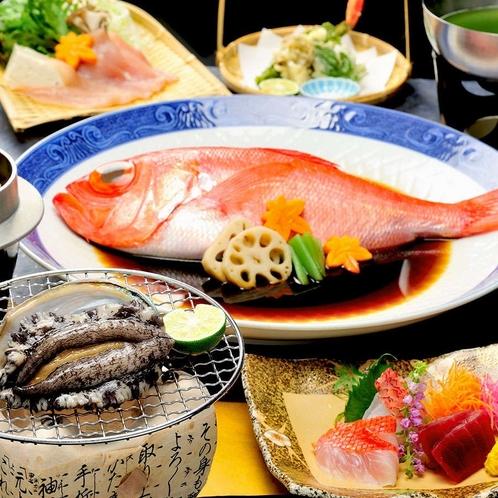 【人気No1】鮑踊焼きに金目鯛姿煮&豚しゃぶ