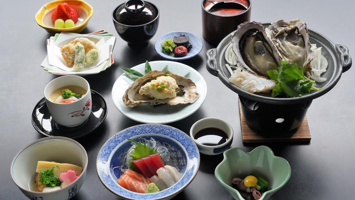 牡蠣料理いり会席ライトコース『夕なぎ』のイメージ。※お品書きは季節や仕入れにより変わります。