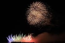 赤穂海浜公園で開催される花火大会、市民の夕べの様子