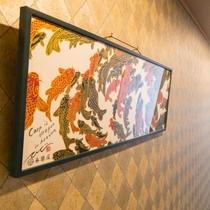 京都の老舗綿布商『永楽屋』の手ぬぐい (館内5階廊下)