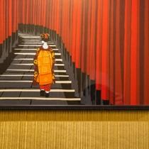 京都の老舗綿布商『永楽屋』の手ぬぐい(館内3階廊下)